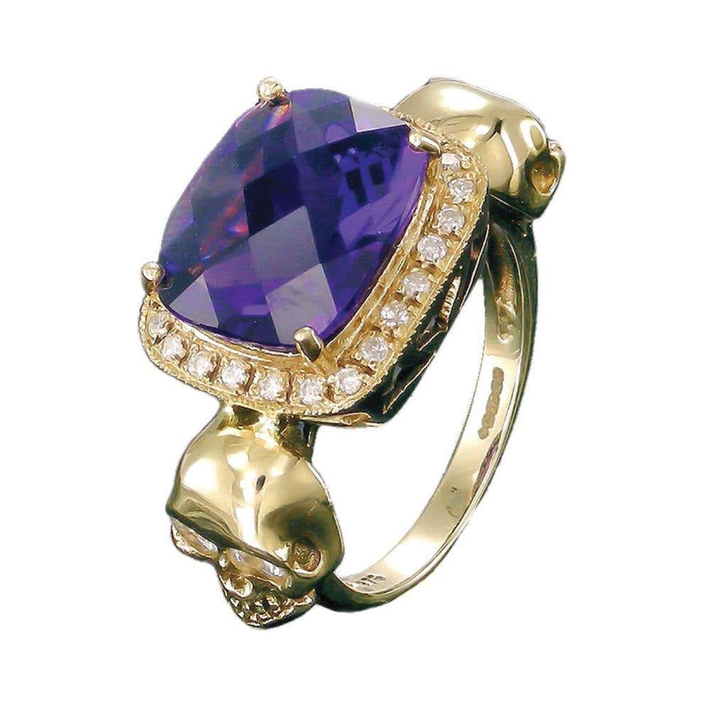 Skull Princess Purple Amethyst Ring
