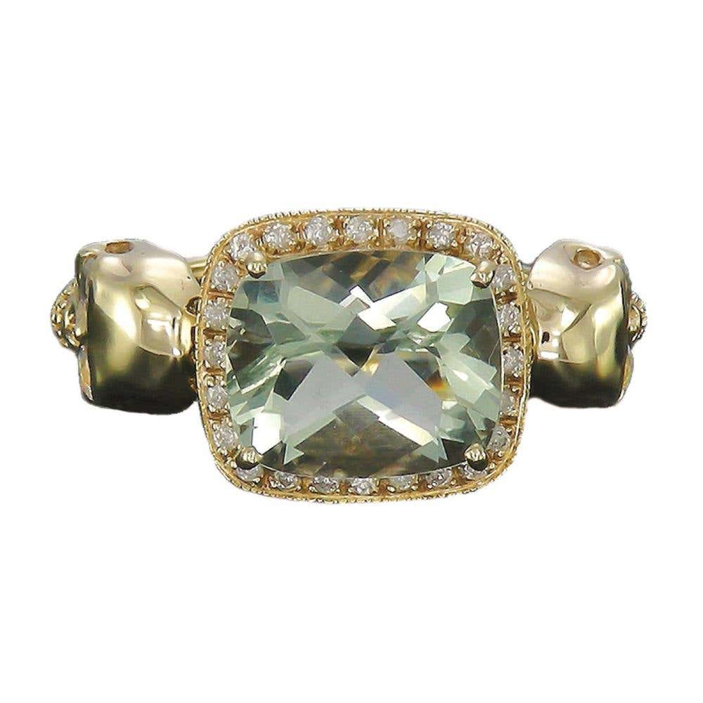 Skull Princess Green Amethyst Ring  | Hover Image