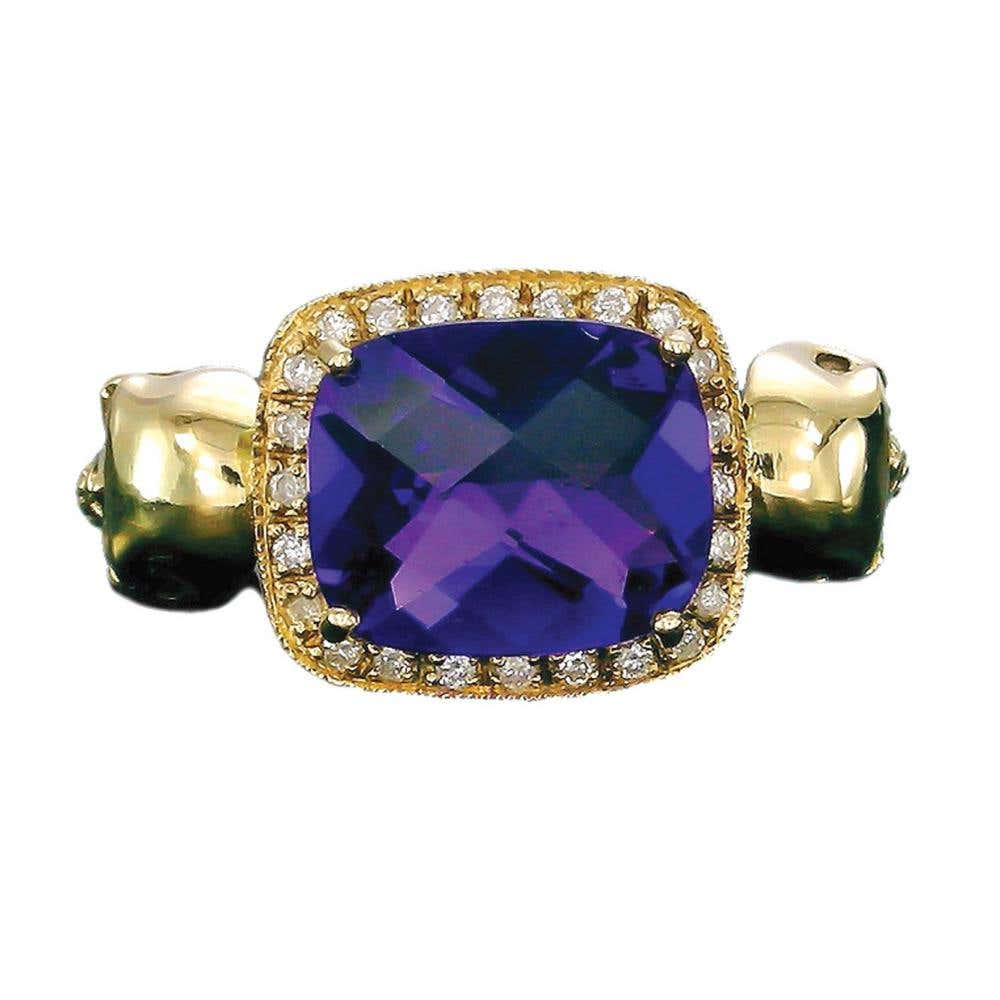 Skull Princess Purple Amethyst Ring  | Hover Image