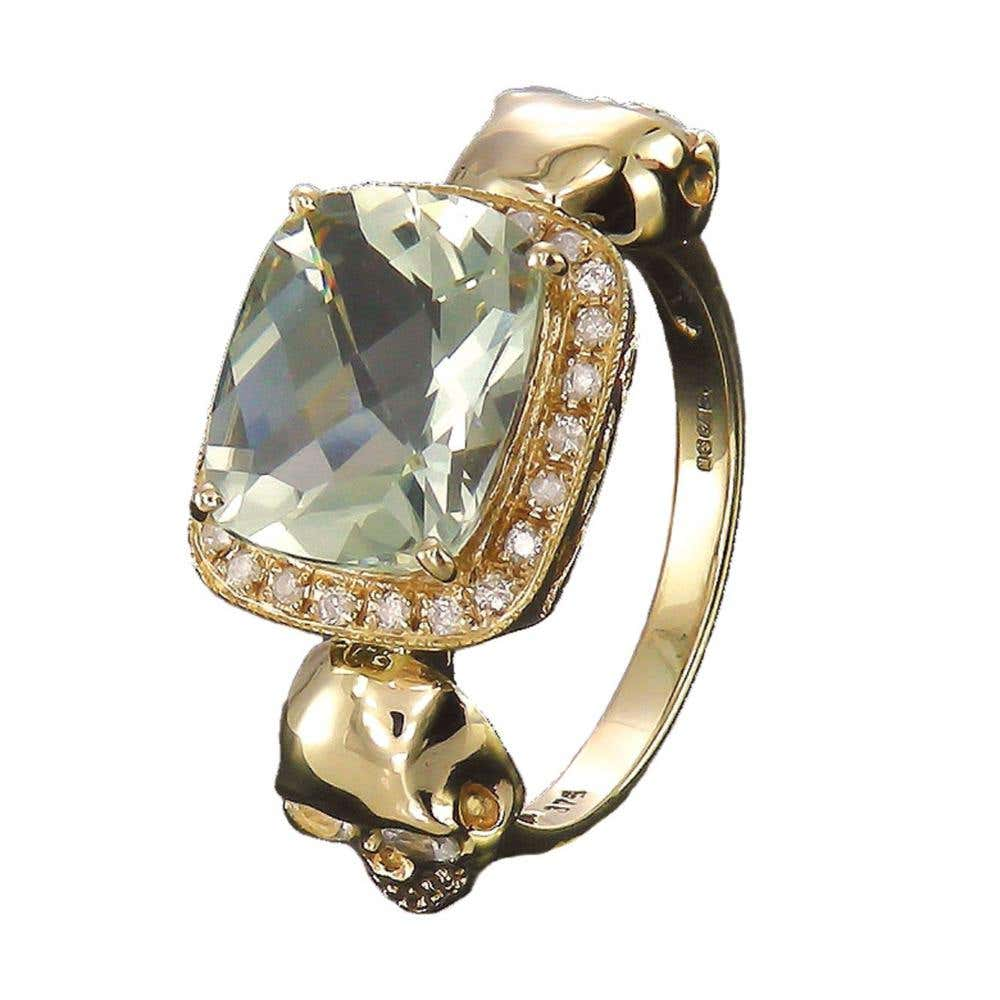 Skull Princess Green Amethyst Ring