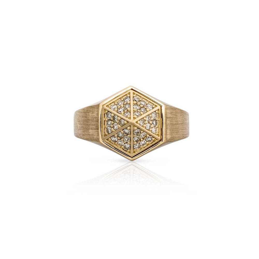 Hexagon Pyramid Diamond Signet Ring