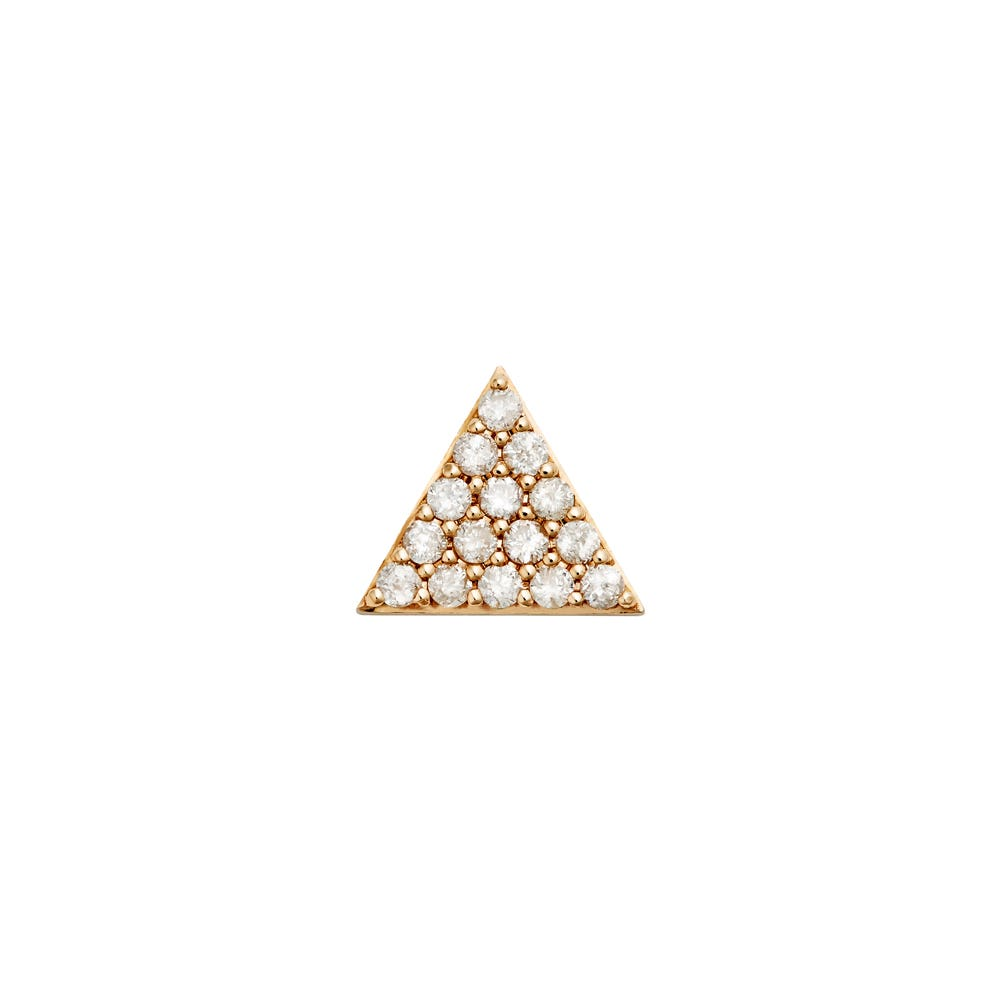 Pyramid of Diamonds Stud. 9k Rose Gold / White Diamond - Image