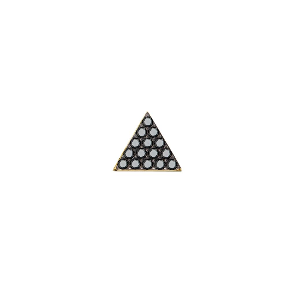 Pyramid of Diamonds Stud. 9k Yellow Gold / Black Diamond - Image