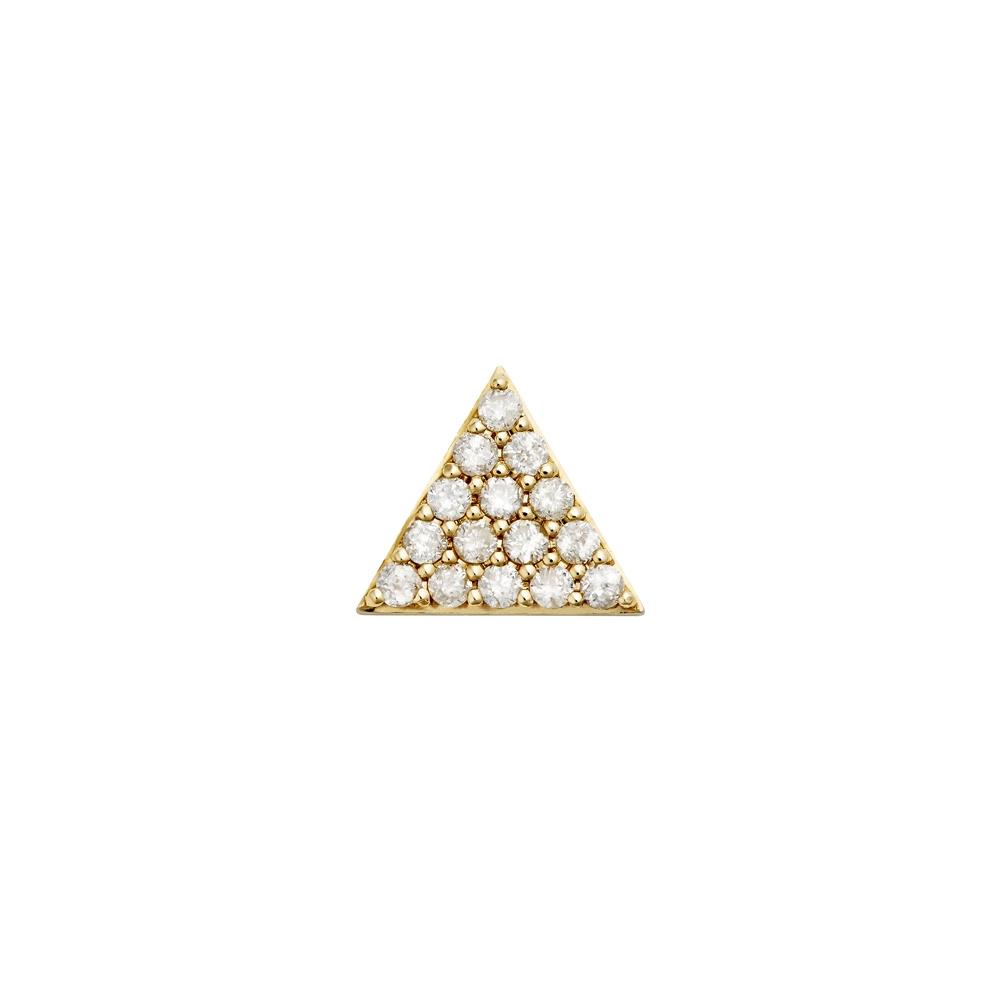 Pyramid of Diamonds Stud. 9k Yellow Gold / White Diamond - Image