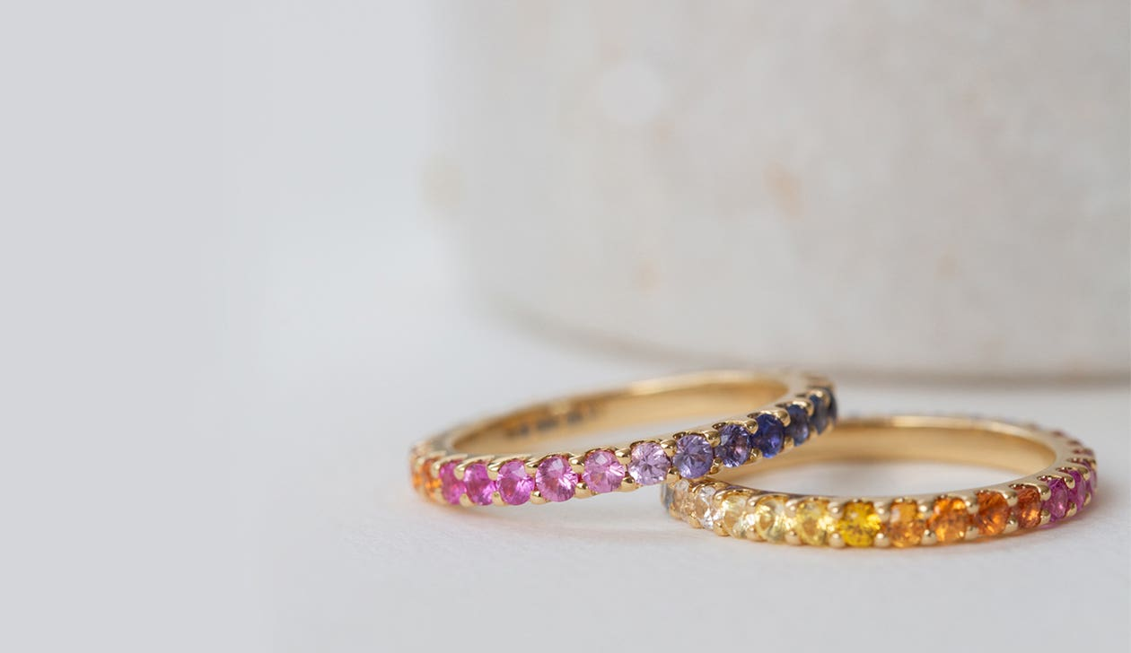 Rainbow Sempera Band 2mm / 18k White Gold / Sapphire