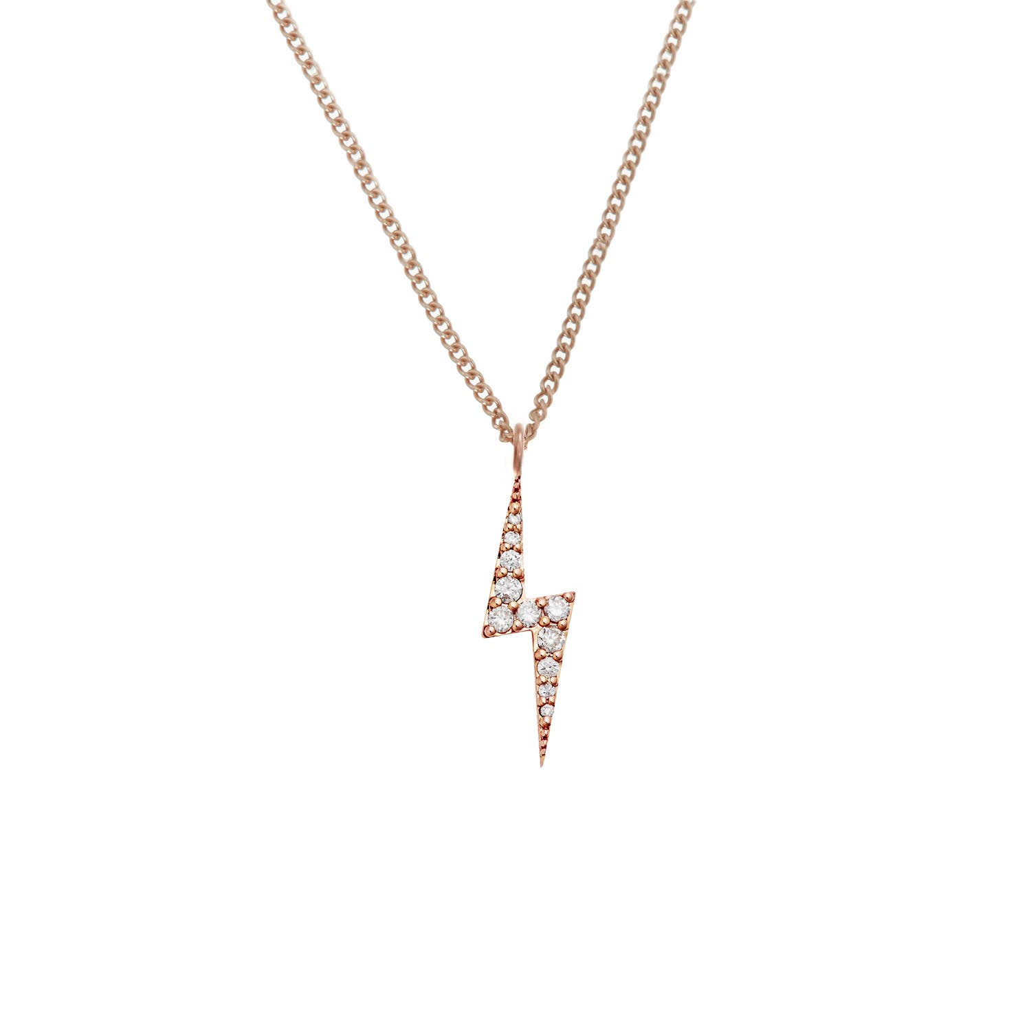 Zap Diamond Necklace 9k Rose Gold / White Diamond