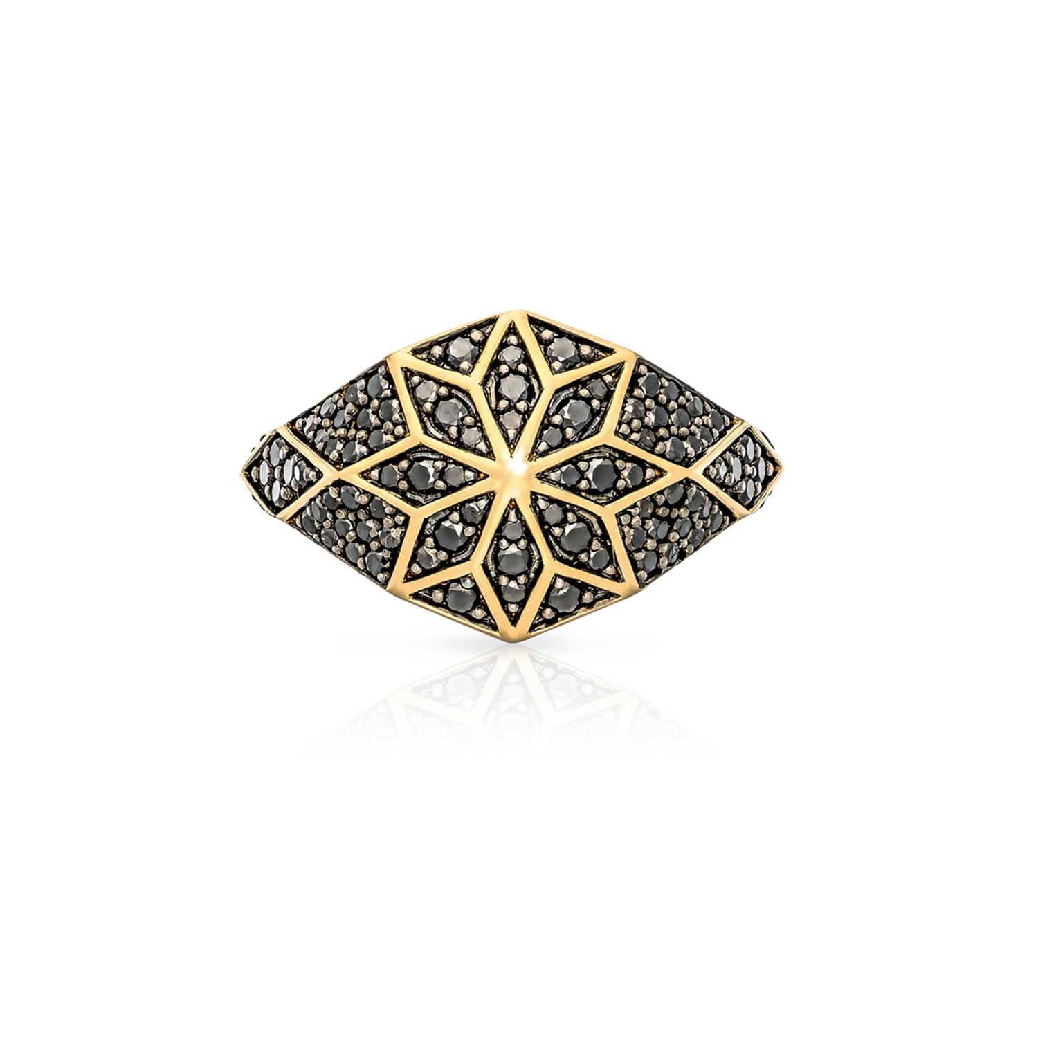 Venus Star Ring. 9k Yellow Gold / Black Diamond