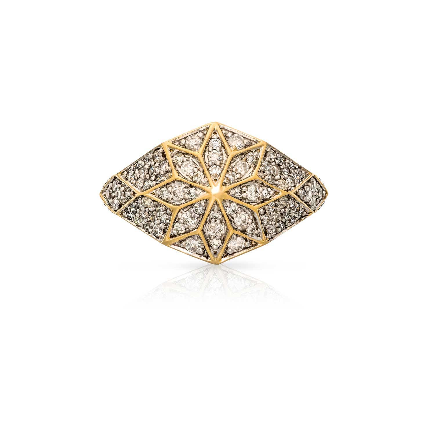 Venus Star ring. 9k Yellow Gold / Diamond