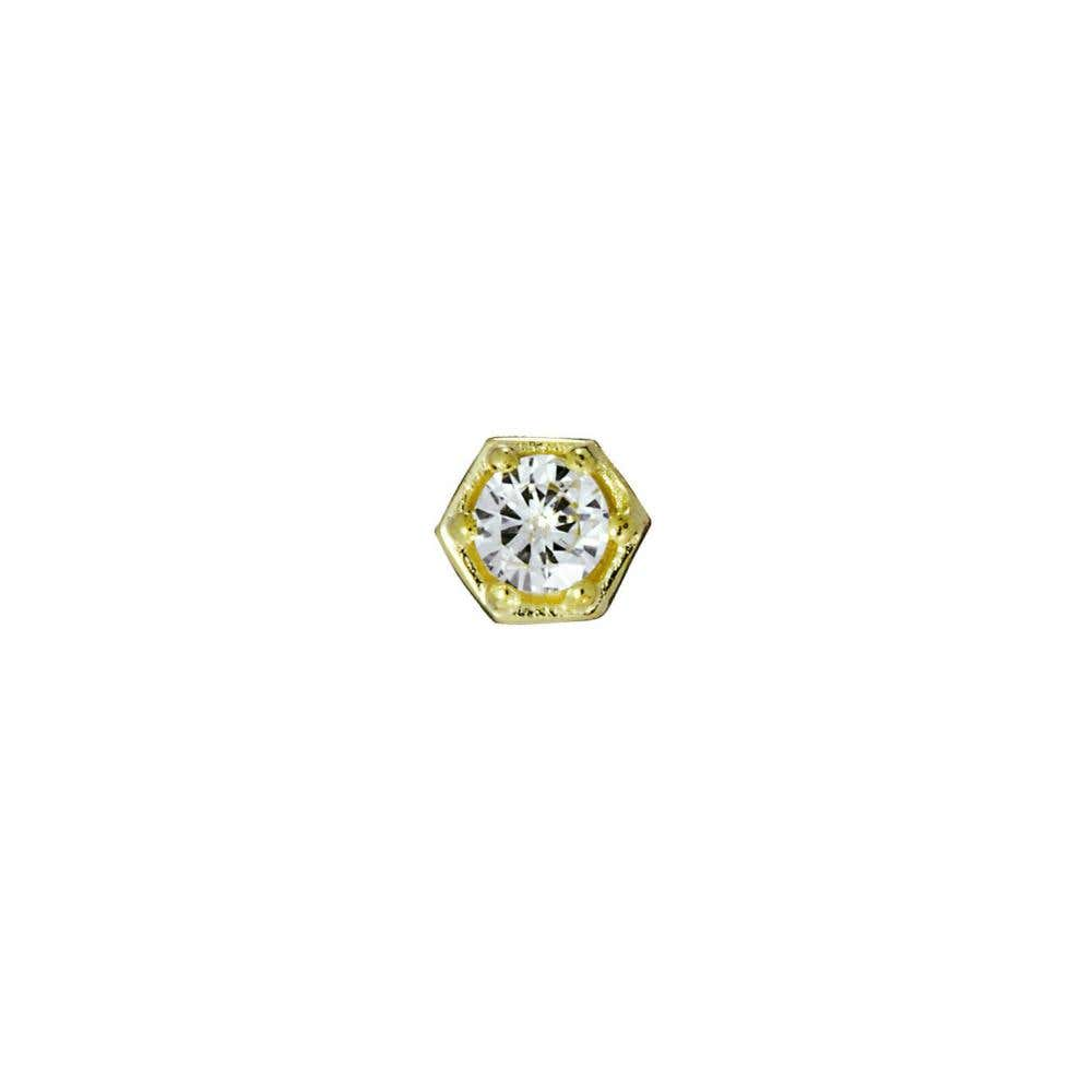 Mini Hexagon Diamond Stud