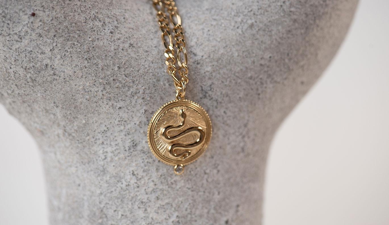 Wisdom Necklace / 22k Gold Plate / White Zircon
