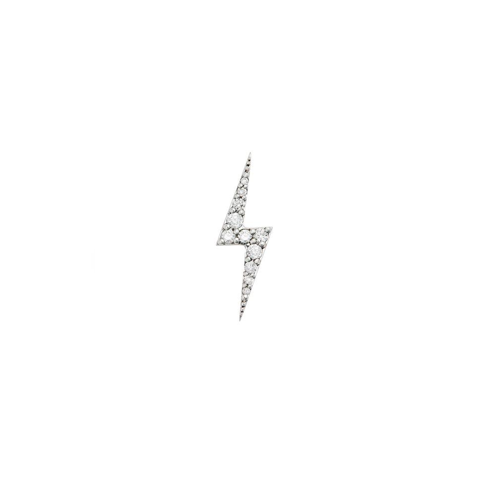 Zap Diamond Stud. 9k White Gold / White Diamond