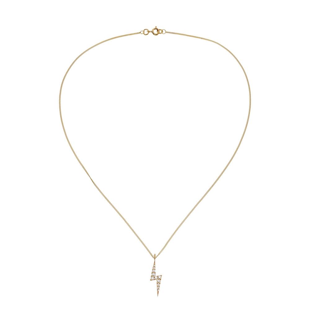 Zap Diamond Necklace 9k Yellow Gold / White Diamond - Image