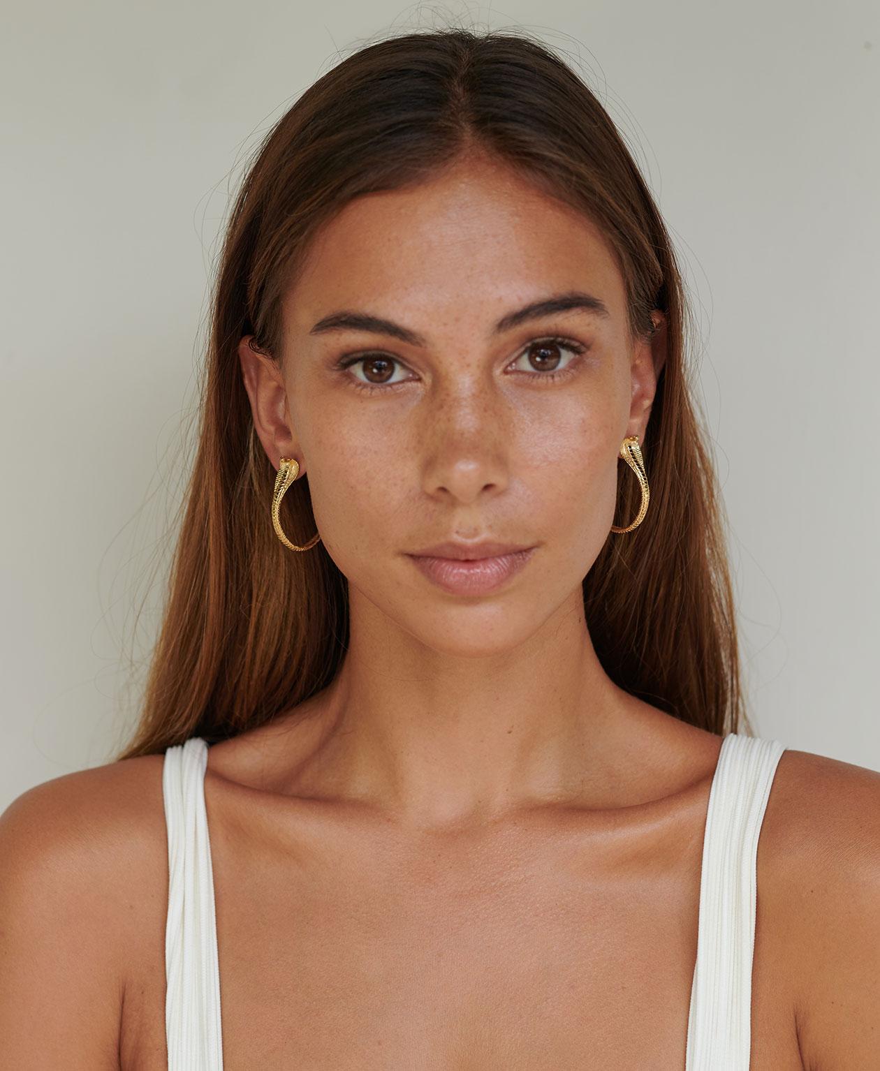 413d02e2e Buy Protect Me Hoop Earrings 22k Gold Plate | Zoe & Morgan